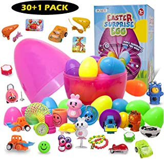 PUSITI Easter Egg Toys Surprise Eggs with Toys Inside 30 Toys Filled 2.5 Inch Eggs in 10 Inch Egg for Kids Toddlers Learning Toys Education for Boys and Girls
