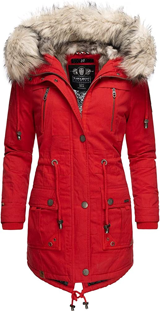 Navahoo, cappotto invernale da donna con cappuccio, in cotone antiscivolo, con pelliccia sintetica Honigfee-07
