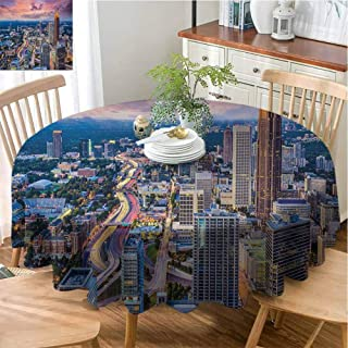 Soft Round Tablecloth Modern Foldable Atlanta City Skyline at Sunset with Hazy Light Georgia Town American View (Round,47 Inch) Baby Pink Blue Silver