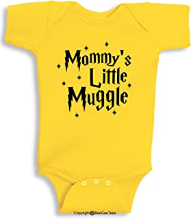 a17488130 BeeGeeTees Mommy's Little Muggle Cute Wizard Baby Romper Wizard Onesie  (Newborn, Yellow)
