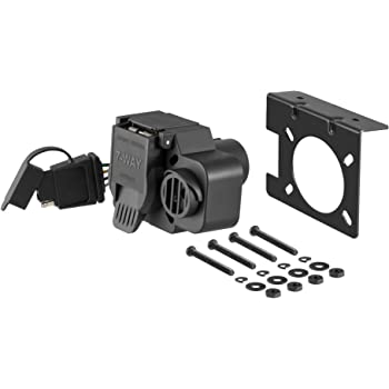 CURT 57101 Dual-Output Vehicle-Side Trailer Wiring Harness Connectors for USCAR, 7-Pin, 4-Pin, Integrated Backup Alarm