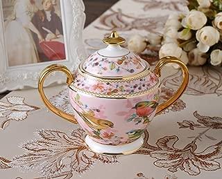 Ndht Bone Chinaティーカップ/コーヒーカップ& Saucersセットwith spoons-6.7oz、ホーム、レストラン、表示& Holidayギフト、ピンクの鳥 Milk Jug and Sugar Pot NDHT180801005