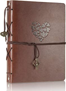THXMADAM Scrapbook Leather Photo Album Wedding Guest Book DIY Memories Book with 60 Black Pages Present for Valentines Anniversary Day Birthday Christmas Gift for Wife Mum Daughter Girlfriend,Love M