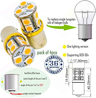Wiseshine bau15s led amber ry10w py21w 7507 5009 1156py bau15s s25 bulb DC9-30v 3 years quality assurance (pack of 4) bau15s 13smd 5050 Yellow