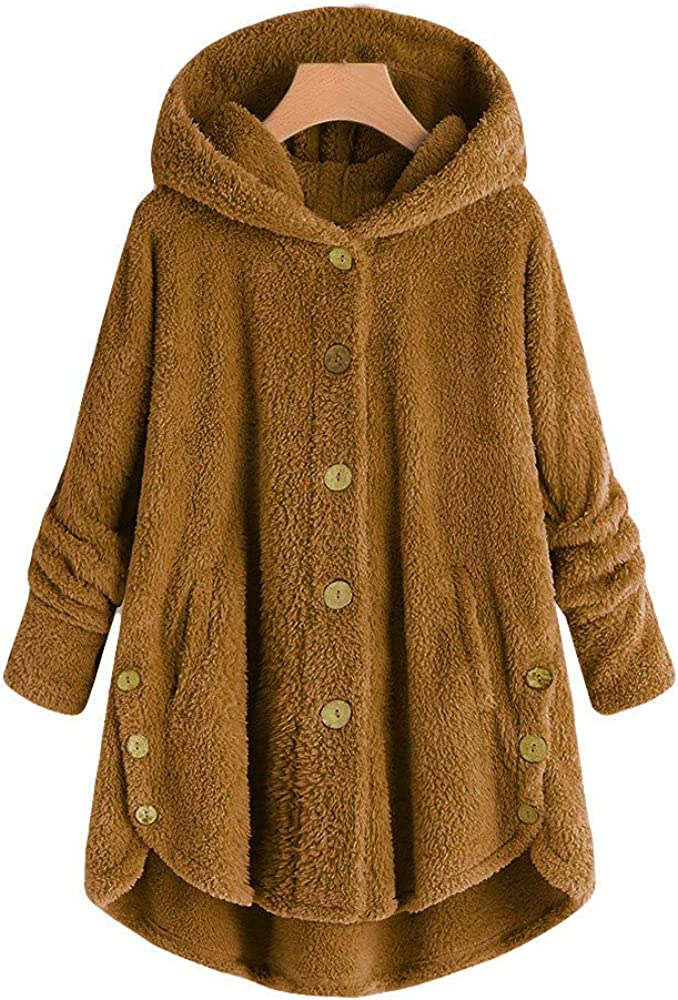 Women Winter Hoodies Coat Loose Sweatshirt Plus Size Outerwear Button Plush Tops Hooded Cardigan Wool Jacket