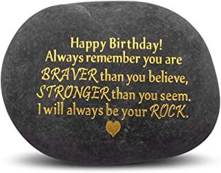Unique Birthday Gift for Son Daughter - I Will Always Be Your Rock, Novelty Keepsake Paperweight Pebble Stone Engraved Rock with Motivational Words, Christmas Stocking Present for Kids Adult Friends
