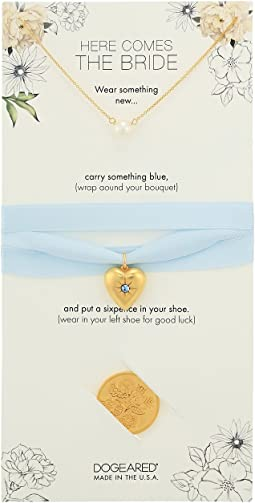 Here Comes the Bride, Small Pearl Necklace, Something Blue Bouquet Wrap, and Sixpence Coin