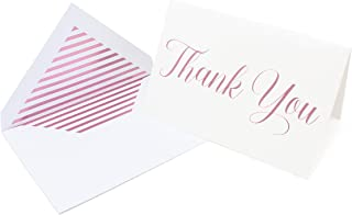 Metallic Foil Thank You Cards and Envelopes Classic Cursive Font 4 x 6 Inch Size Match Your Wedding or Party Colors - Set of 20 - Rose Gold