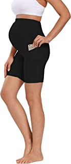 Foucome Women's Maternity Over The Belly Active Lounge Comfy Yoga Short Workout Running Athletic Non See-Through Yoga Shorts