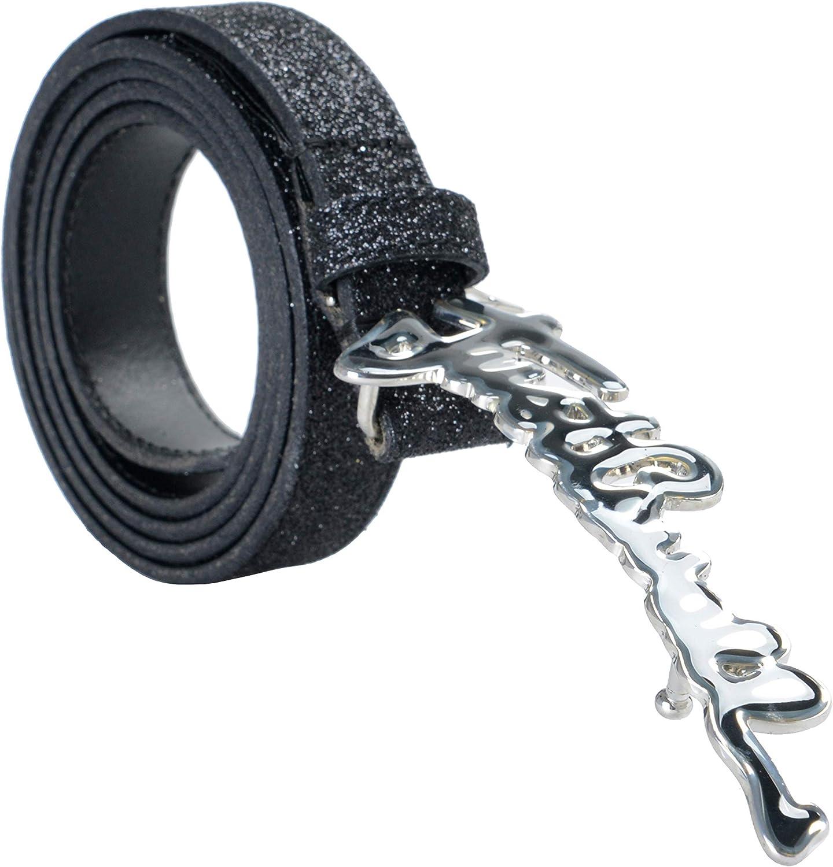Just Cavalli 100% Leather Sparkling Black Women's Belt US 25 IT 90