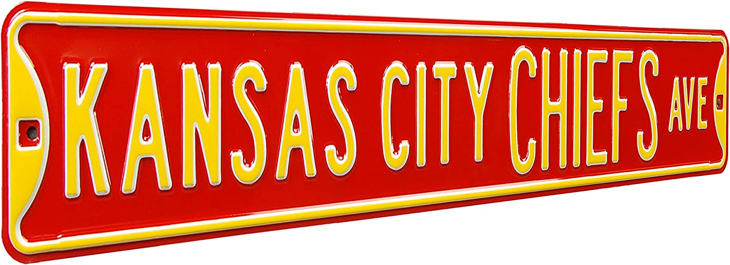 Fremont Die NFL Kansas City Chiefs Ave, Metal Wall Decor- Large, Heavy Duty Steel Street Sign – Football Wall Decor for Dorm Room Decorations, Man Cave Decor, Office and Gifts