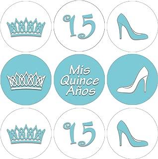Light Blue Quinceanera Party Favor Stickers - 180 Labels