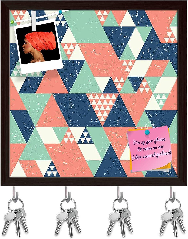 Artzfolio bluee orange Green Triangles Key Holder Hooks   Notice Pin Board   Dark Brown Frame 20 X 20Inch