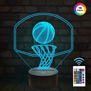 FULLOSUN 3D Basketball Night Light Backboard Illusion LED Lamp for Kids' Room Home Xmas Birthday Gifts for Boy Man Friends with 16 Color Changes Remote Control