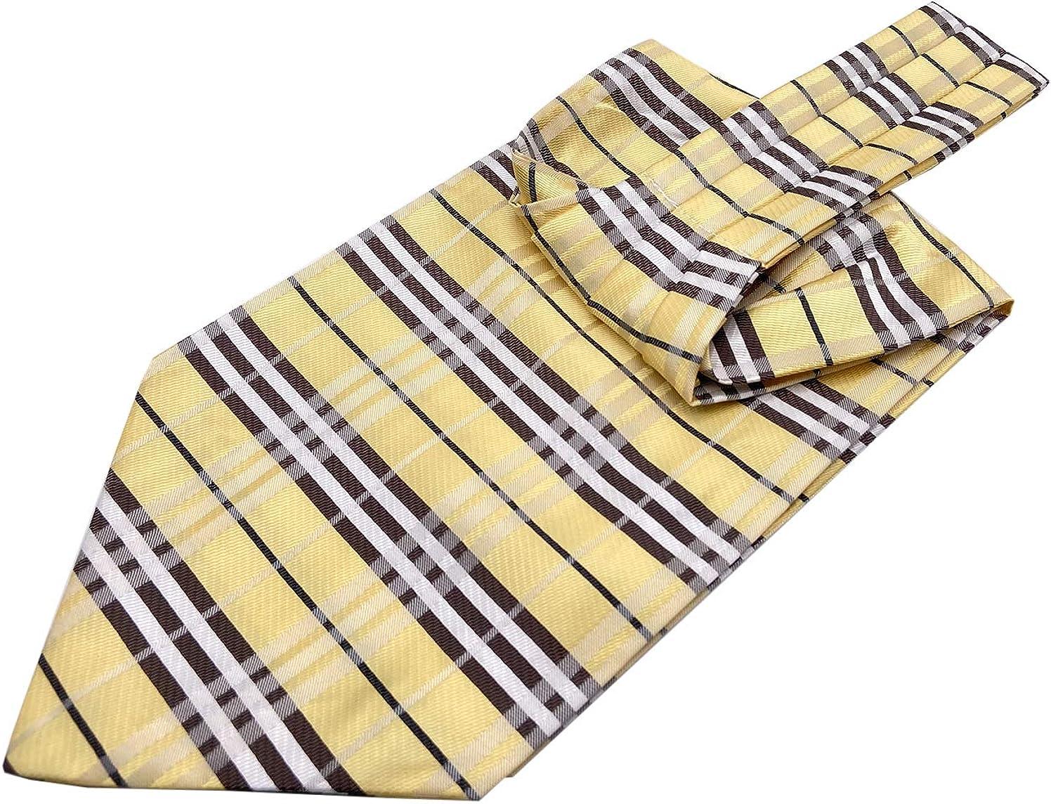 AYOSUSH Mens Ascots Cravat Tie Silk Jacquard Woven Luxury Ascot Wedding Business