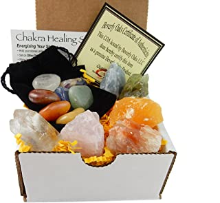 Chakra Mineral Starter Set/Crystal Healing Kit ~ 6 Colorful Mineral Stones Plus 7 Chakra Tumbled Gemstones, Spiritual Metaphysical, Reiki, Chakra, Healing, Bohemian, Natural