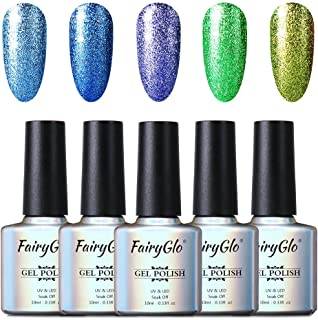 FairyGlo 5 Colour Combo Platinum Gel Nail Polish UV LED Soak Off Manicure Nail Art Gift Set Exclusive Beauty Wearing Collection New Series Base Top 10ml C58005