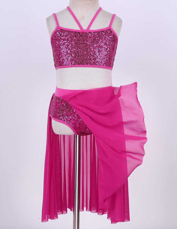 MSemis Kids Girls Adjustable Shoulder Straps Chiffon Shiny Sequins Leotard for Ballet Modern Dance