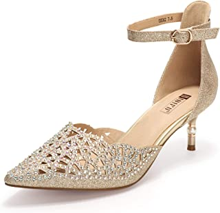 IDIFU Women's IN2 Candice Rhinestones Sequins Mid Heels Stiletto Kitten Heels Wedding Pump Bridal Shoes