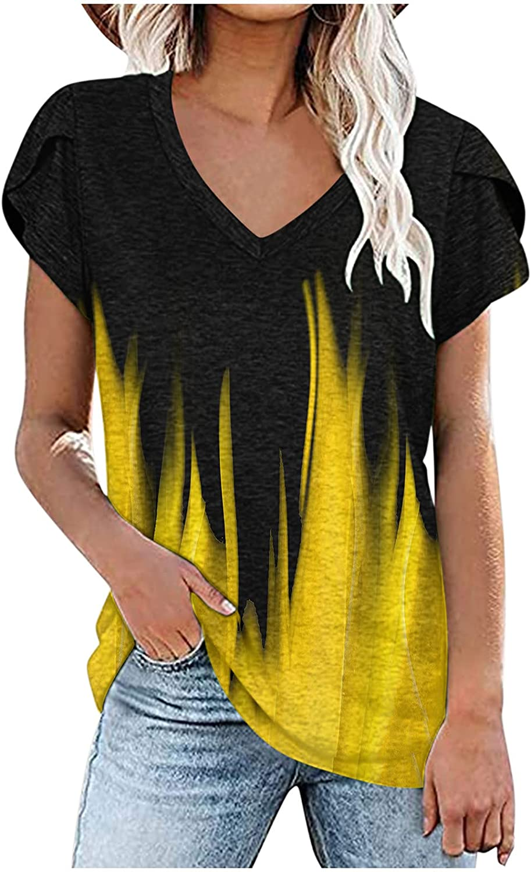 XINXX Womens Gradient Print Tops V Neck Blouse Summer Petal Sleeve Tshirts Casual Soft Pullover B