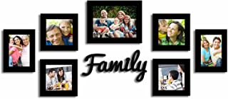 Painting Mantra Decorative Premium Set of 7 Individual Wall Photo Frame with Family MDF Wall Plaque - Black