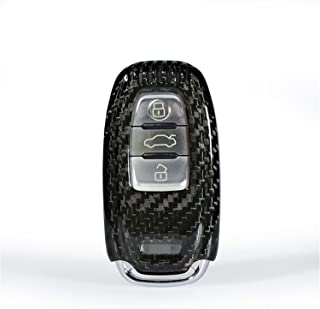 100% Carbon Fiber Case For Audi Key Fob, Genuine Carbon Fiber Cover For Audi S5 S6 S7 S8 SQ5 RS5 RS7 Q5 A4L A5 A6L A7 A8 Smart Keyless Fob Remote Key, Men's Car Key Fob Case Women's Fob Cover - Black