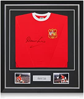 fdc0e5539 Deluxe Framed Denis Law Signed Manchester United 1963 FA Cup Winners Soccer  Jersey With Silver Inlay