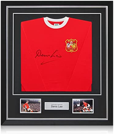 9a30f40fc Deluxe Framed Denis Law Signed Manchester United 1963 FA Cup Winners Soccer  Jersey With Silver Inlay