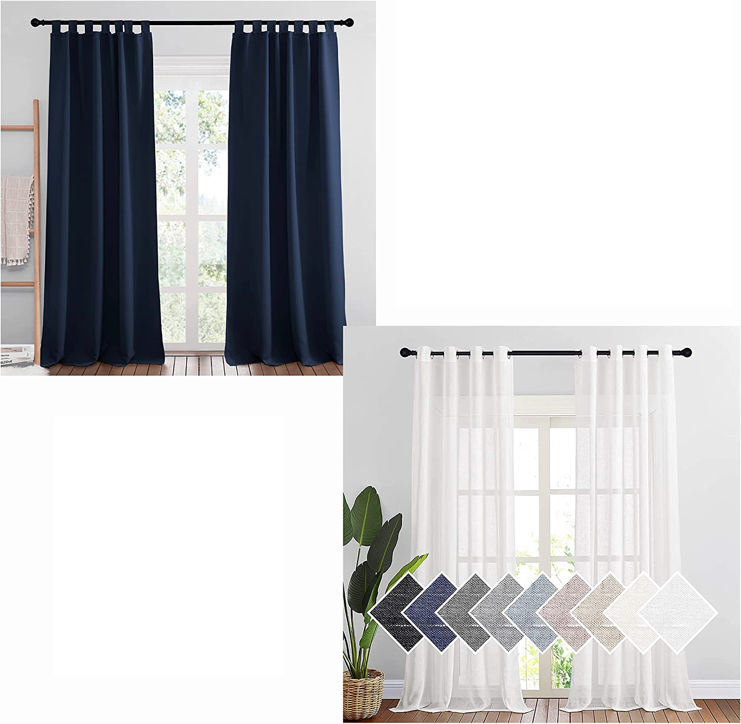 NICETOWN Mix and Match Curtains Bundle 2 B Panels SEAL New arrival limited product Tab Navy Top