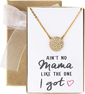 A+O Gift for Mom, Aunt, Grandma - CZ Pave Disc Necklace in Sterling Silver, Gold Vermeil, Rose Gold Vermeil