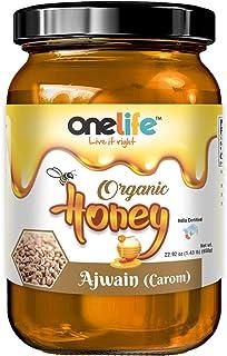 OneLife 100% Organic Ajwain Honey Natural Pure Raw Unfiltered No Added Sugar Balanced Flavor (650gm)