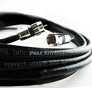 100ft Black Perfect Vision Solid Copper UL CM CL2 rated for in wall installation 3ghz 75 Ohm Coaxial Rg6 Directv, Dish Network, Digital Cable Tv Video Cable with PPC Compression Rg6 Fittings