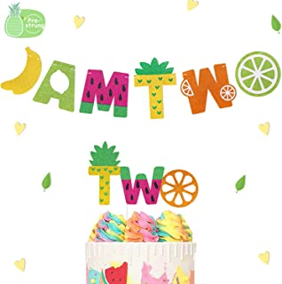 I Am Two Banner Twotti Frutti Birthday Cake Topper Pineapple Watermelon Orange Banana Lemon Fruit Theme Second Birthday Girl kids Baby Shower Party Glitter Decorations-PRESTRUNG…