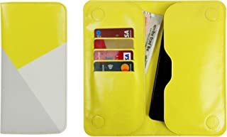 Emartbuy Faux Leather Magnetic Wallet Case Cover with Card Slots for IKALL K3 (16.5x7.7x1cm) - Yellow/Grey Printed