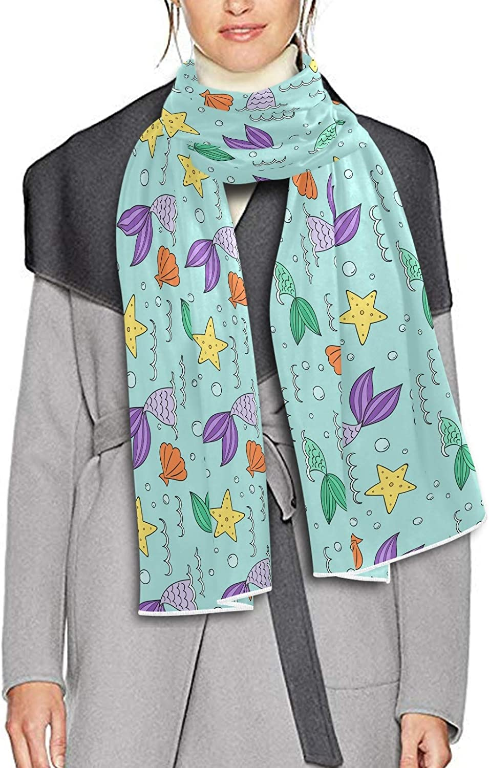 Scarf for Women and Men Mermaid Stars Fish Shawl Wraps Blanket Scarf Soft warm Winter Oversized Scarves Lightweight