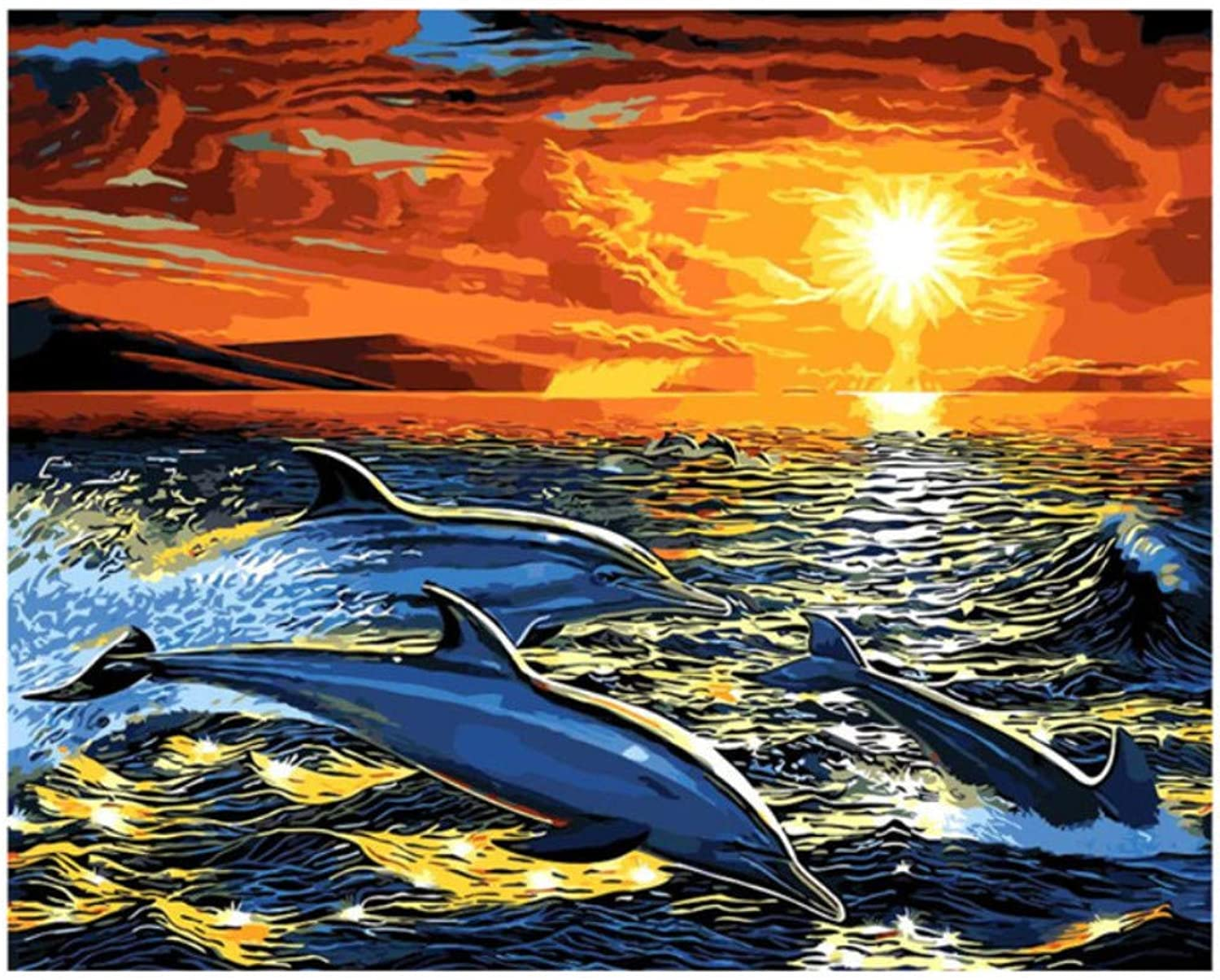 Unframe Animal Abstract Oil Painting Decoration Picture DIY Digital Painting by Numbers Wall Decor Canvas Painting Dolphin 50x60CM