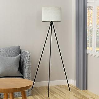 Lampadaire de salon noir en métal lampadaire LED dimmable avec ampoule E27