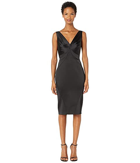 Zac Posen Stretch Satin Sleeveless V-Neck Fitted Cocktail Dress