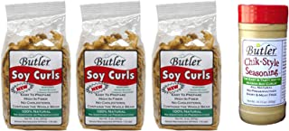 Butler Soy Curls, 8 oz bags - 3 Pack + Chik-Style Seasoning