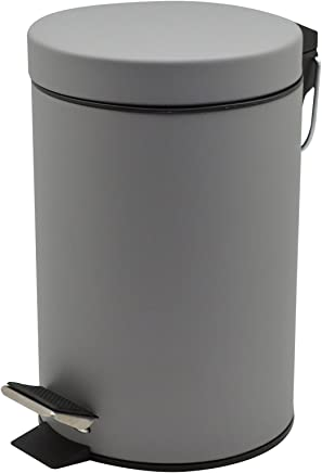 Harbour Housewares Bathroom Pedal Bin with Removable Inner Bucket, 3 Litres - Grey Finish