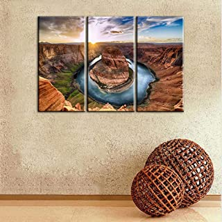TUMOVO House Decorations Living Room Horseshoe Bend Grand Canyon National Park Paintings U.S.A Landmark Picture 3 Panel Sunset Moment Canvas Wall Art Modern Artwork Framed Ready to Hang(24''x36'')