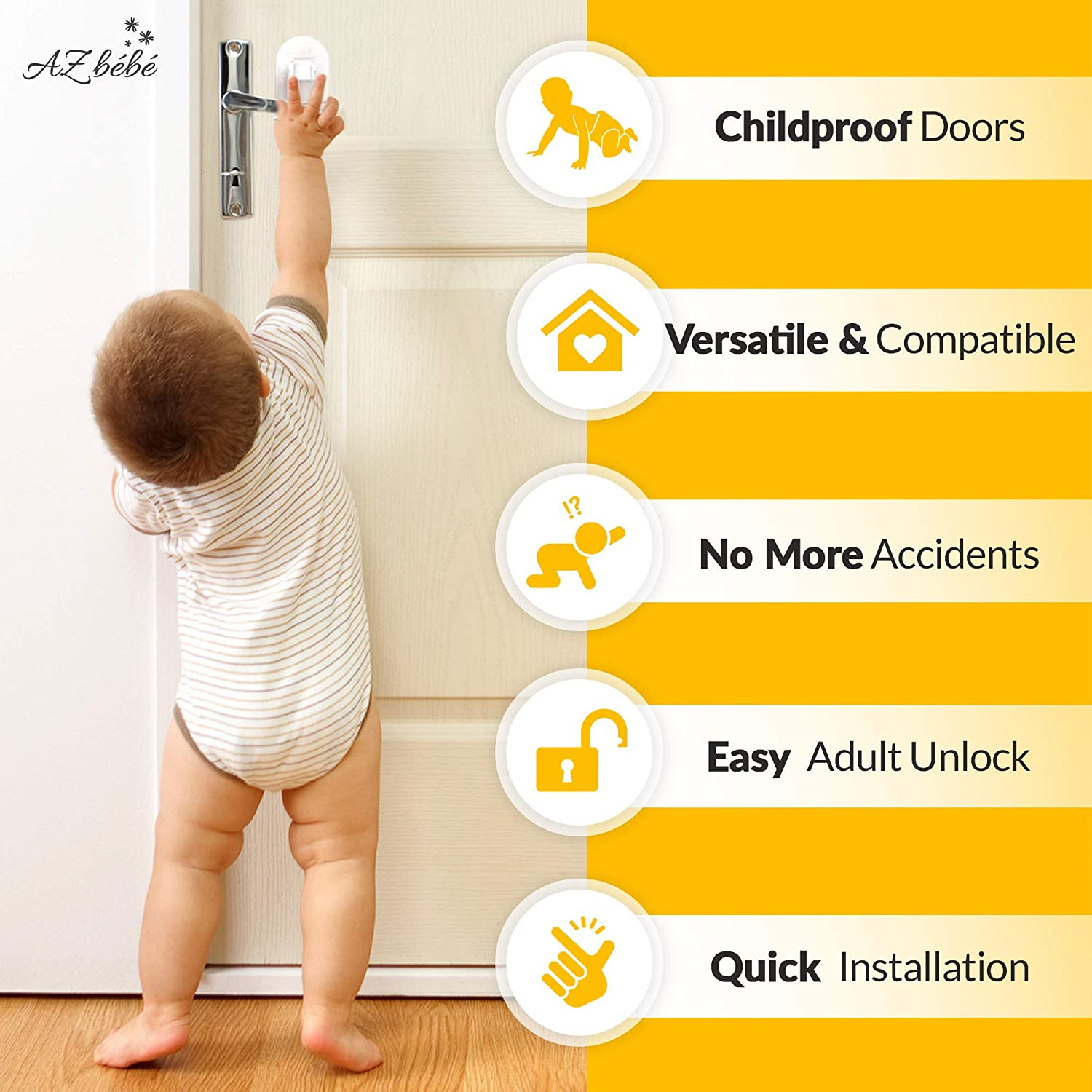 AZbébé Baby Proof Lever Lock   Door & Cabinet Locks for Children Safety   Use for Bathroom, Toilet, Bedroom, Kitchen & Closet   Child-Proof Your Home with Ease (Lever Locks)