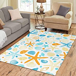 INTERESTPRINT Sweet Home Stores Collection Custom Hand Drawn Shells and Starfishes Area Rug 7'x5' Indoor Soft Carpet