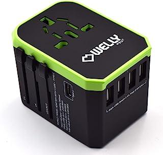 Welly Enjoy IT WY13105 - Adaptateur de Voyage Universel avec Prises EU, UK, US, AU, 4 Ports USB et 1 Port Type-C