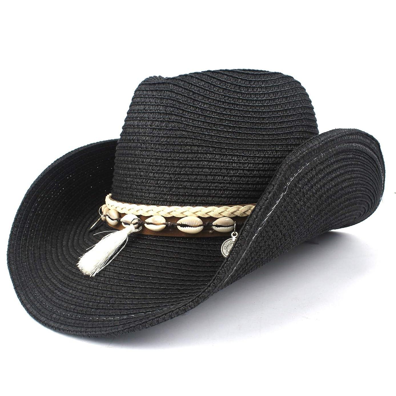 VAXT Direct Women Husk Westerly Cowboy Hat Summer Elegant Lady Cowgirl Sombrero Sun Hats with Tassel Band Jazz Hat