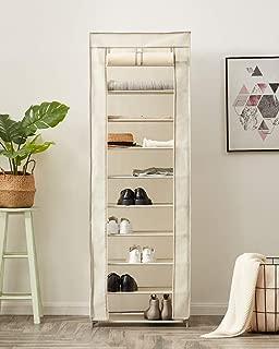 YOUDENOVA Shoe Rack 10 Tiers, Fabric Shoe Rack 30 Pairs, Covered Shoe Rack, Storage Organizer Cabinet (Beige)