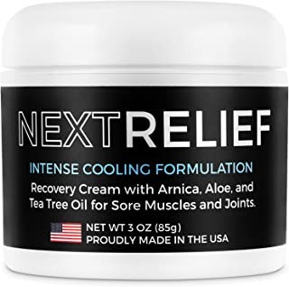 NextRelief Cooling Pain Relief Cream - [3 Oz] USA Made with Arnica, Aloe, Tea Tree Oil, More - Feels Great on Muscles and Joints - Use for Soreness, Aches, Inflammation, Arthritis, More