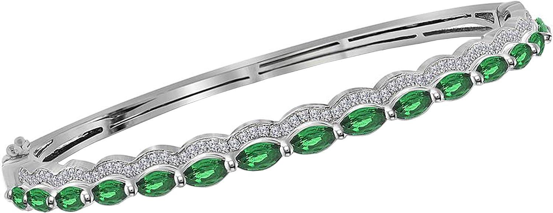 Dazzlingrock Collection 2.43 Carat (ctw) Marquise Emerald Bangle Bracelet, 14K White Gold 3/8 CT