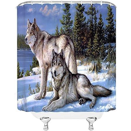 Bathroom Set Accessories Shower Curtain Blue Wolf Southwest Decor Howling Wolves
