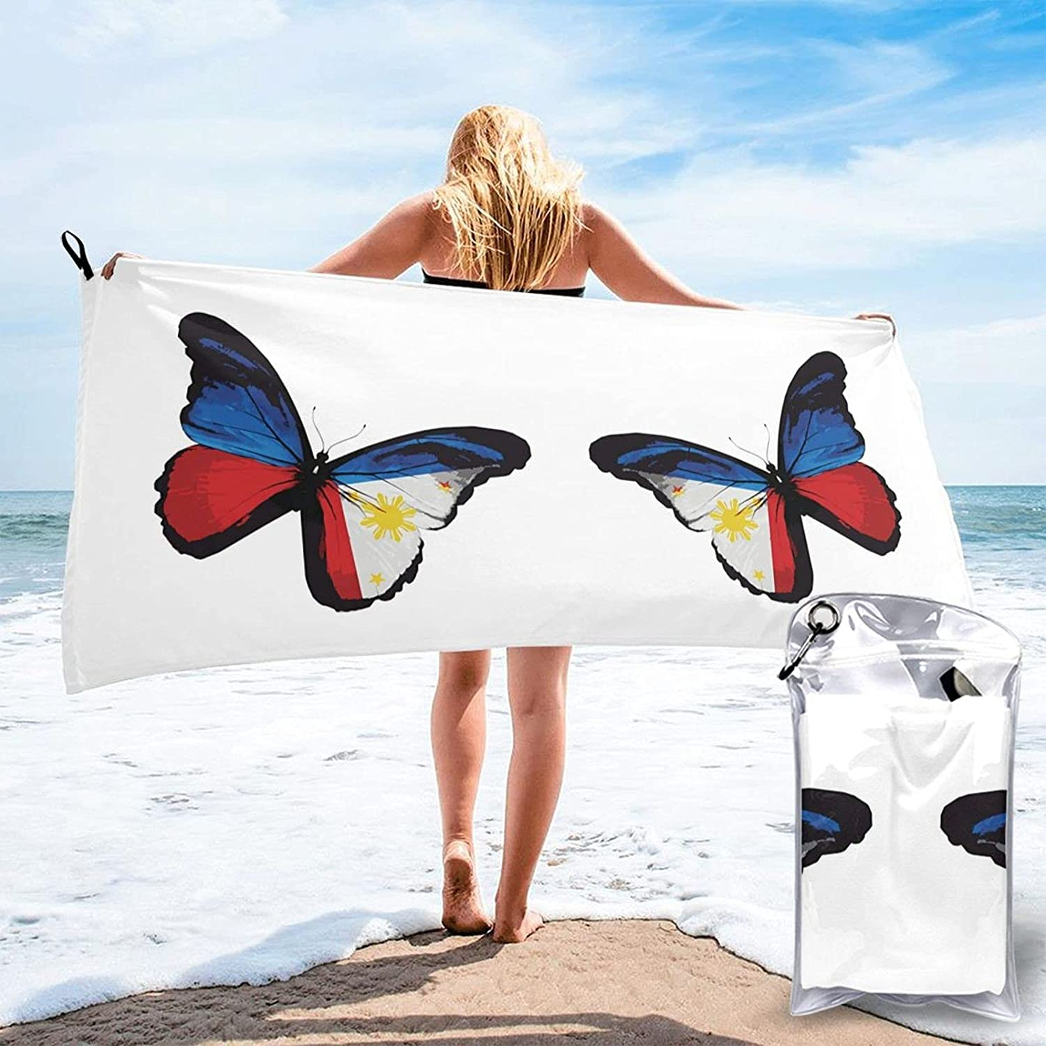 Philippines Flag Butterfly Quick Drying Weekly update Towel with Carry Beach a Houston Mall